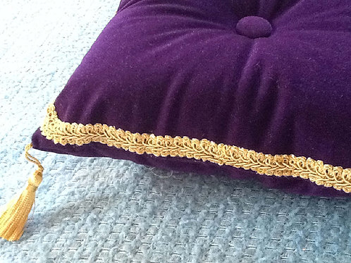 Royal Velvet Pillow in Purple with Gold Trim and Tassels, 16""