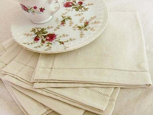 Drawnwork Linen Weave Tablecloth and Napkin 5 Piece Set, Handmade
