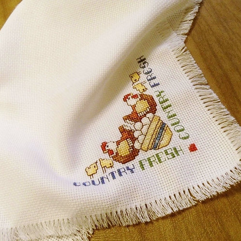 Chicken and Eggs Cross Stitched Bread Cloth