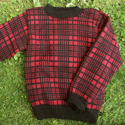Red and Black Plaid Crewneck Sweater for Boys or Girls, Sz 6-8