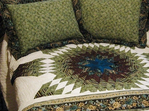 Peacock Star of Bethlehem Quilt with Shams, Queen Sized, Handmade