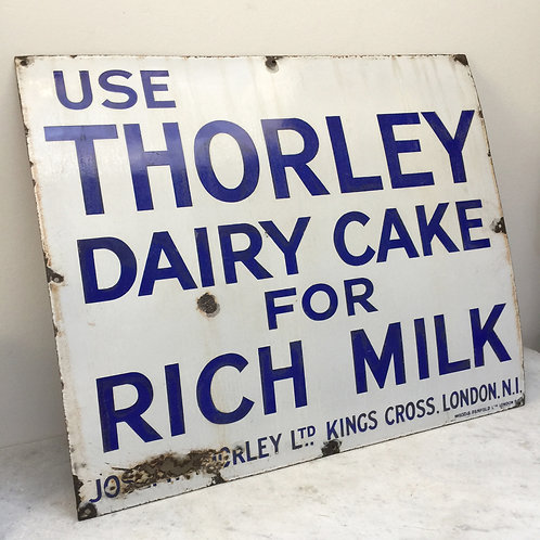 Huge Enamel 'Thorley Dairy Cake For Rich Milk'