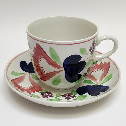 Spongeware Cup And Saucer