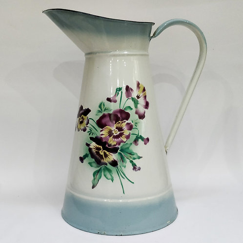 French Enamel Pitcher With Pansy Decoration