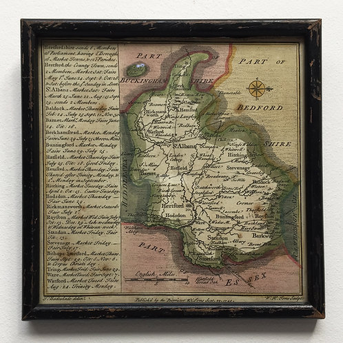 Hand Coloured Map Of Hertfordshire 1742