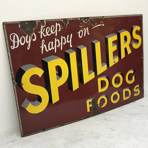 'Dogs Keep Happy On Spillers' Large Enamel Sign