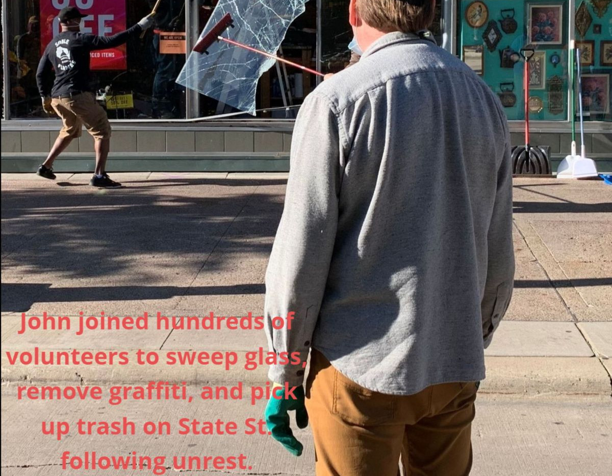 John at the clean up on State St. follow