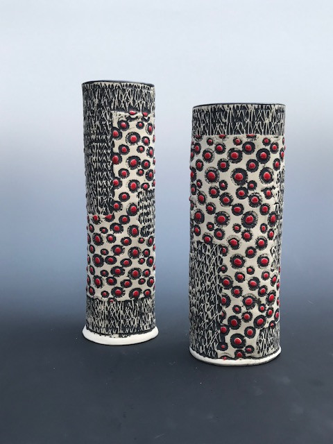 Black, White, Red Paterned Vase