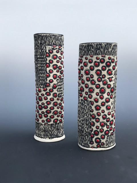 Black, White, Red Paterned Vase