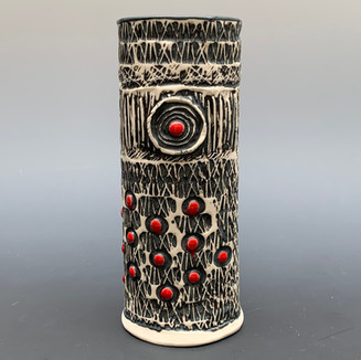 Textured Vase with Spots of Red