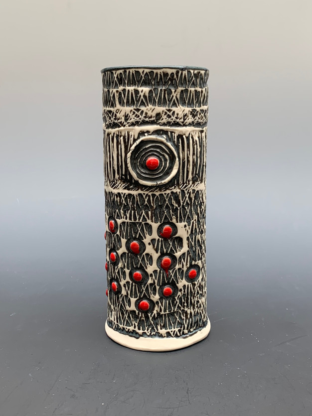 Vase, Black and White with Spots of Red