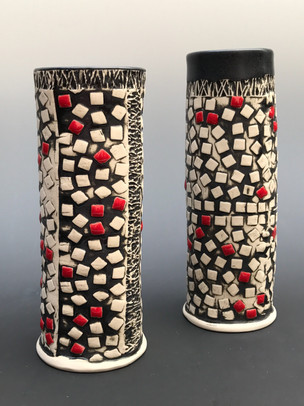 Black and White Vase with Red Squares