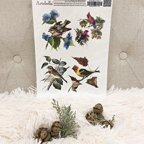 Birds Furniture Rub-On: Artebella (17cmx24cm)