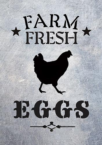 Stencil: Farm Fresh Eggs (A5 size)