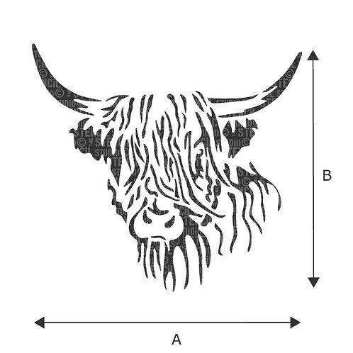 Stencil: Hamish Highland Cow: 17.9 x 16.5cm: Stencil Studio