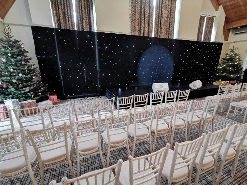 white LED starcloth black backdrop 4m x