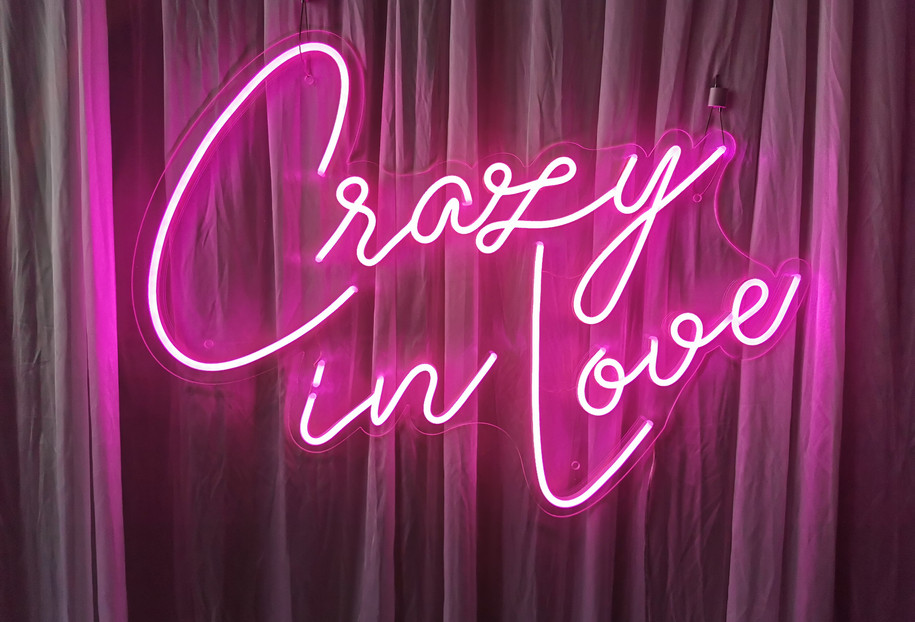 crazy in love neon sign hire rental sout
