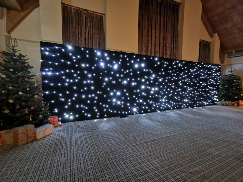 white LED starcloth black backdrop 12m x