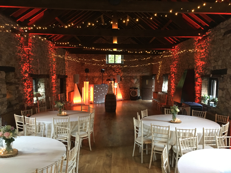 Venue mood uplighters red @ pencoed hous