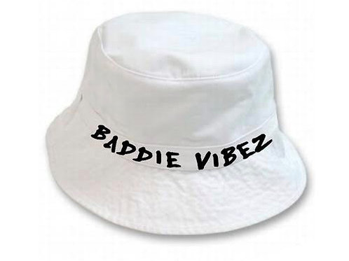 Baddie Vibez White Bucket Hat
