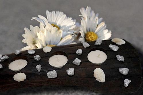 Treibholz-Teelichthalter Stone