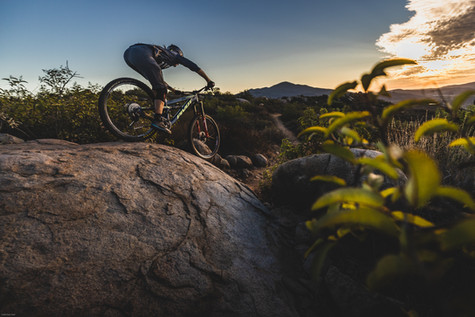 Mountain Bike Photography: Mountain biker, Kialan Hines, riding in San Diego, CA