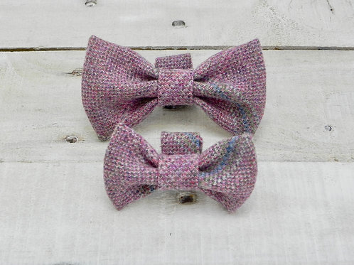 Heather Pink Check Bow Tie