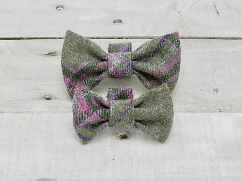 Green and Pink Check Bow Tie
