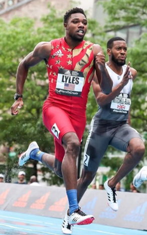 Noah Lyles running in competition; photo courtesy of Noah Lyles, Nojo18 (Instagram)
