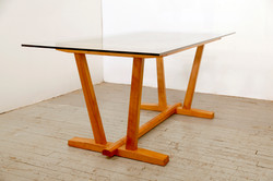 Glass-top Cherry Dining Table