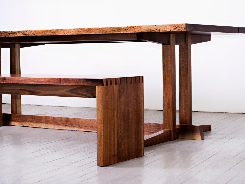 George Nakashima-inspired Walnut Table & Bench
