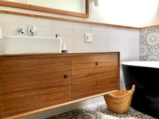 Walnut Vanity & Mirror. Interior design by Emeline Villedary Studios