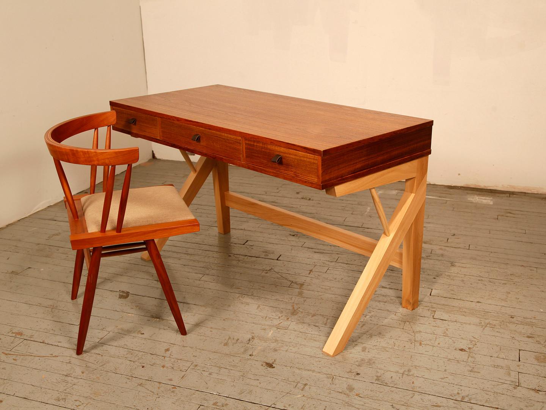 Teak & Elm Desk & Nakashima-inspired Cherry Chair