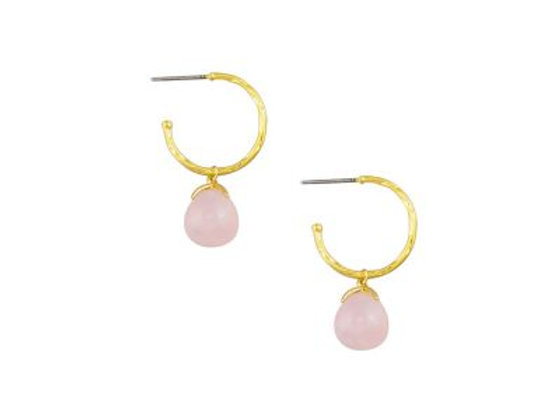 Tiger Tree - Gold & Pink Rain Drop Hoops