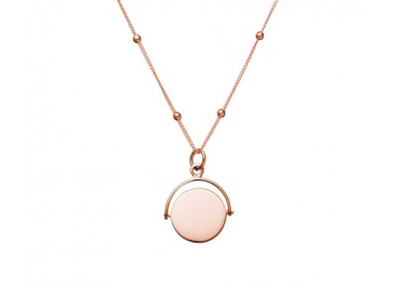 Sterling silver rose gold plated necklace featuring swing-disc pendant. 50cm