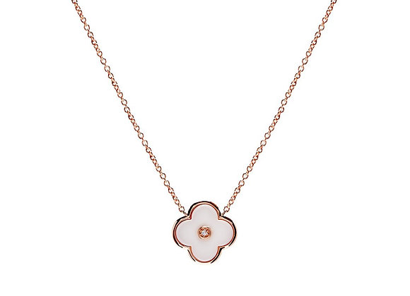 Sybella - Rose gold & solid white ceramic flower on fine chain