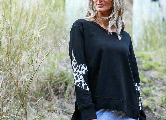 3rd Story - Twin Star Sweater in Black Leopard