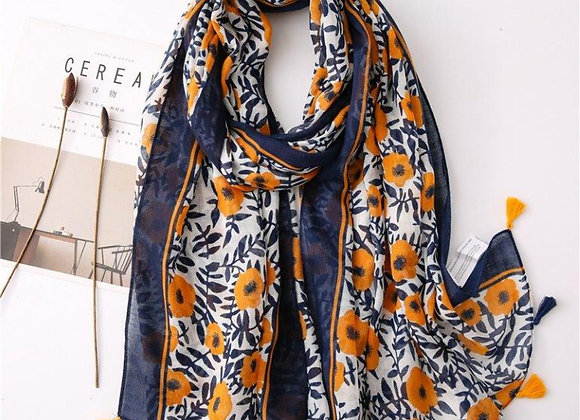 Lilly Co - Orange & Navy Floral Tassel Scarf