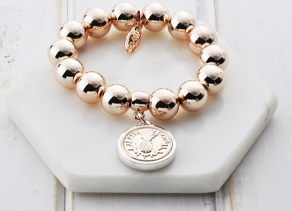 Lilly Co - Rose Gold Coin Silver Edge Pineapple Bracelet