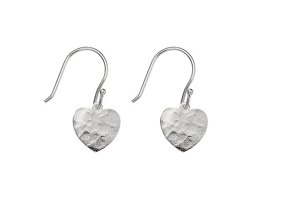 Sterling Silver Hammered Heart Drop Earring