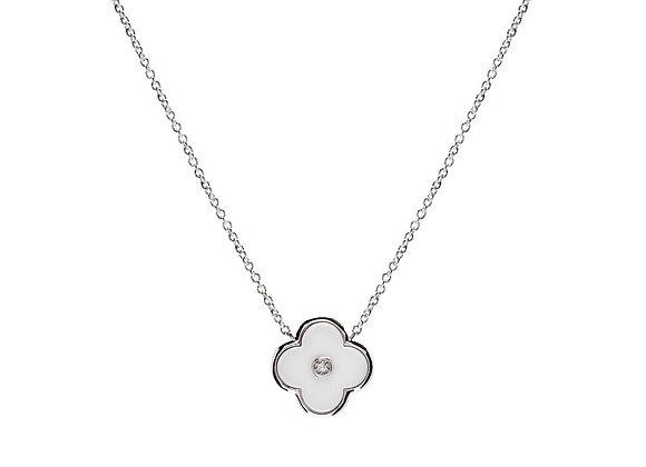 Sybella -  Rhodium & solid white flower on fine chain