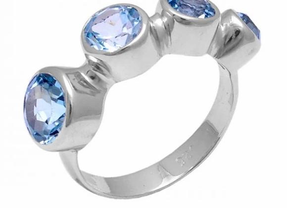 Susan Rose - Callista 3 stone Blue Quartz Ring