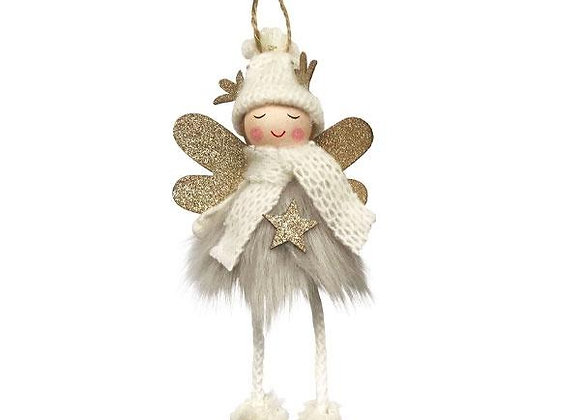 Fluffy Angel Hanging Decoration - Grey