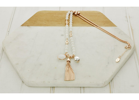 Lilly Co - White Bead Tassel Stone Ball Necklace