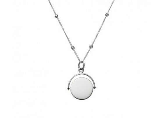 Sterling silver necklace featuring swing-disc pendant 50cm