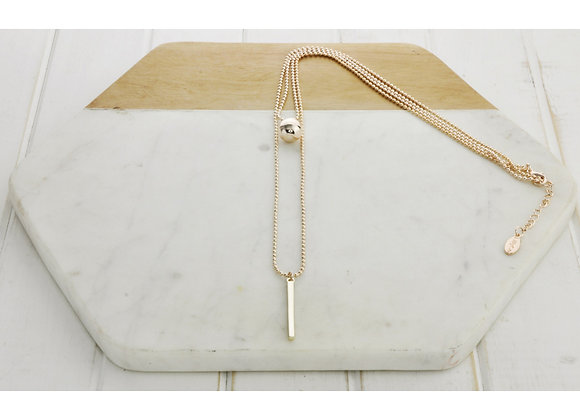 Lilly Co - Rose Gold 2 Layer Ball & Bar Necklace