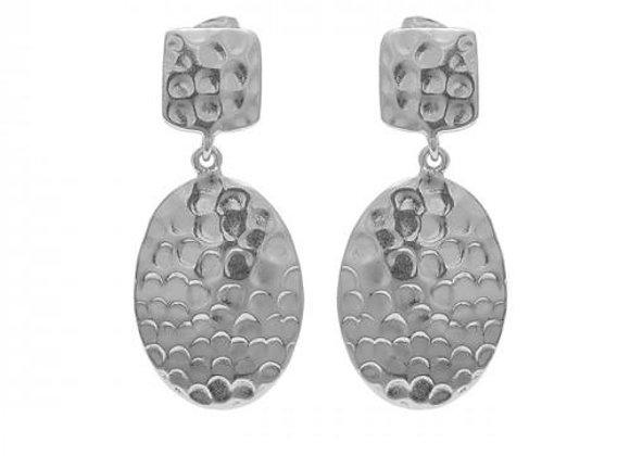 Susan Rose - Delta - Silver Hammered Drop Earring