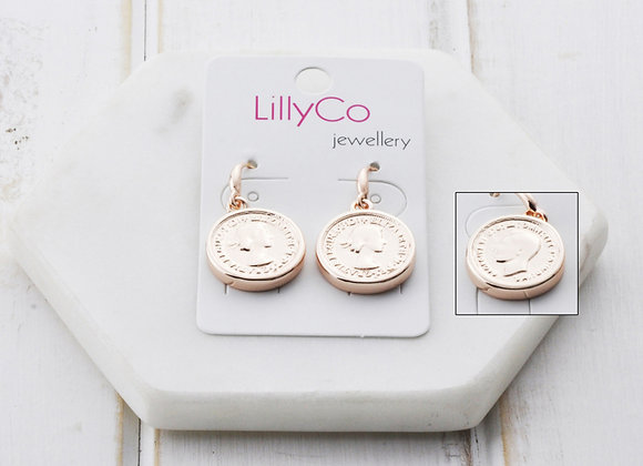 LillyCo - Rose Gold Coin Earring
