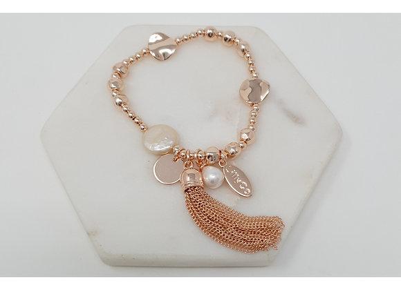 Lilly Co - Rose Tassel Charm Bracelet