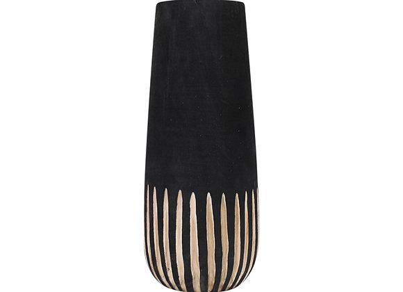 Wooden Vase Black Stripe